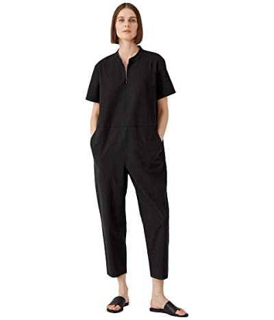 Eileen Fisher Ankle Jumpsuit with Tapered Leg in Organic Cotton Hemp Stretch