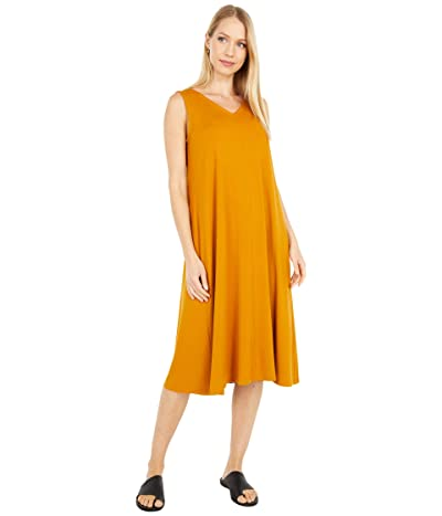 Eileen Fisher V-Neck Calf Length Flare Dress (Goldenrod) Women
