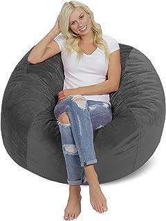 Chill Sack Bean Bag Chair: Giant 4' Memory Foam Furniture Bean Bag - Big Sofa with Soft Micro Fiber Cover - Grey Pebble