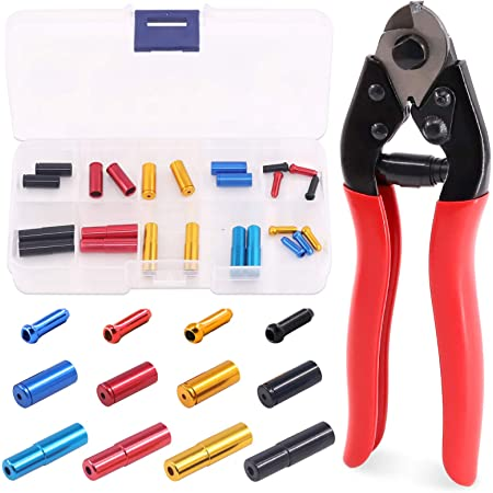 Brake/Cable/End/Caps Coolrunner 48 Pcs Bike Cable End Caps Alloy Road Mountain Bikes Brake Tips Shifter Bike Cable End Crimps 6 Color Cable End Crimps