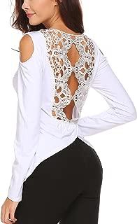 ZeagooWomen'sSexyLaceCrochetColdShoulderLongSleeveBlouseShirtTops