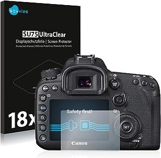 savvies Protector Pantalla Compatible con Canon EOS 7D Mark II (18 Unidades) Pelicula Ultra Transparente