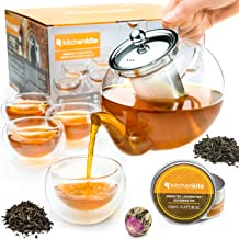Tea Kettle Infuser Stovetop Gift Set – Glass Teapot with Removable Stainless Steel..