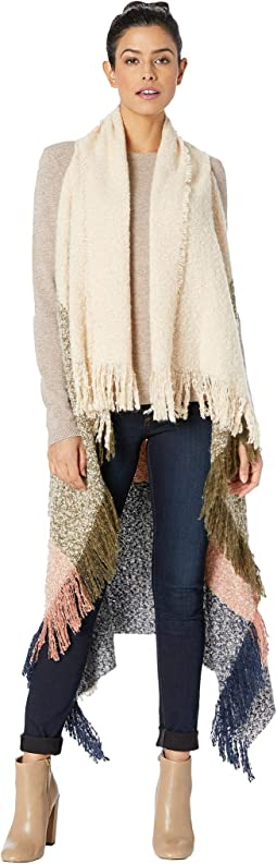 Boucle Color Block Fringe Vest