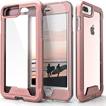 Zizo ION Series Compatible with iPhone 8 Plus Case Military Grade Drop Tested with Tempered Glass Screen Protector iPhone 7 Plus 6 Plus Rosegold Clear