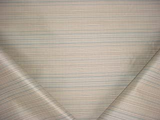 5RT7 - Sea Blue / Gold / Creme Cotton Lined Pin Stripe Designer Upholstery Drapery Fabric - By the Yard