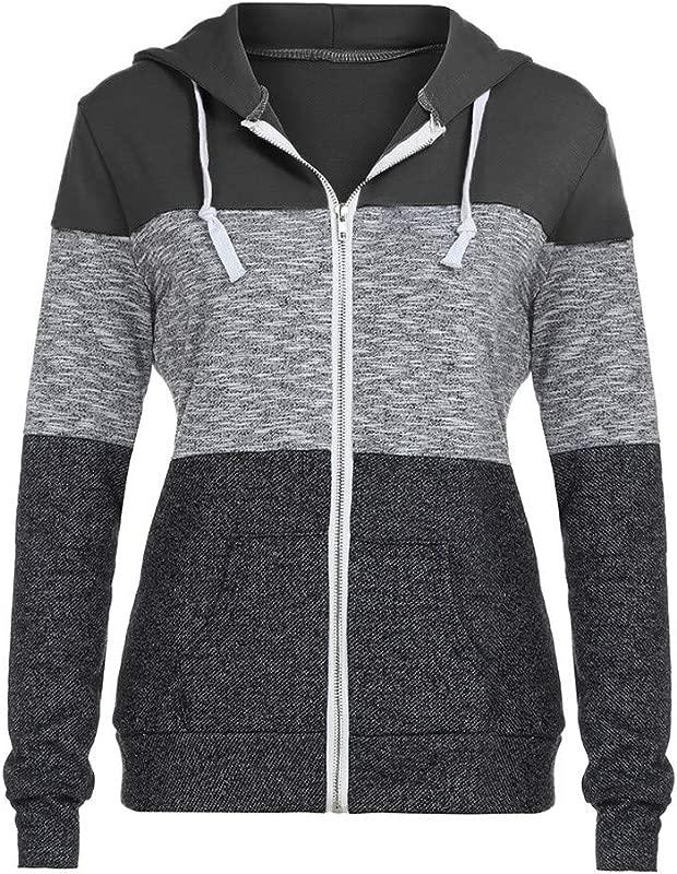 TANLANG Women Casual Color Block Hoodie Outdoor Zip Up Hooded Windbreaker Jacket Long Sleeve Sport Slim Basic Pocket Coat