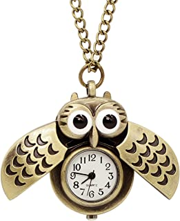 Vintage Cute Flying Owl Pocket Watch Pendant Necklace, Animal Shape Sweater Long Chain Pendat Necklace