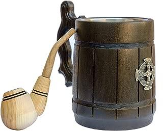 Celtic Wooden Beer Mug 20 oz - Handcrafted Tankard - Medieval Beer Steins & Mugs
