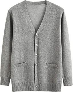 Women's Button Down V Neck Long Sleeve Soft Knit Cardigan Sweater, Fankle Basic Casual Open Front Fake Pocket Coat (XS-4XL)