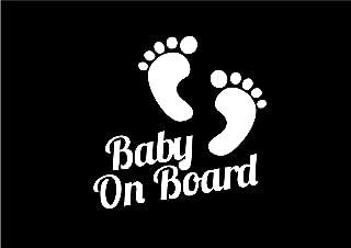 """033W Vinyl Aufkleber Baby Füße mit Aufschrift """"Baby on Board"""", Auto, Fenster"""