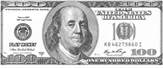 TheGag 100-Enlarged Oversized Replica Fake Play Money-One Hundred Dollar Bills in Black and White-Single Sided Play Money.