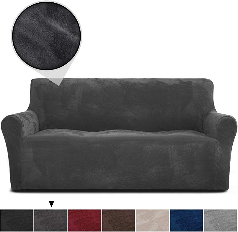 RHF Velvet Sofa Slipcover Stretch Couch Covers For 3 Cushion Couch Couch Covers For Sofa Sofa Covers For Living Room Couch Covers For Dogs Sofa Slipcover Couch Slipcover Dark Grey Sofa