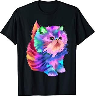 Colorful Cute Funny Rainbow Kitten Rave EDM Cat Shirt T-Shirt