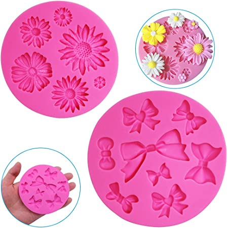 FineGood Lot de 2 moules décoratifs en silicone en forme de fleur de chrysanthème et nœud papillon, pour chocolat, fondant, argile, savon, décoration de gâteau, outil de pâtisserie – Rose
