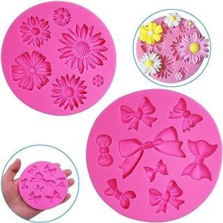 FineGood Lot de 2 moules décoratifs en silicone en forme de fleur de chrysanthème et nœud papillon, pour chocolat, fondan...