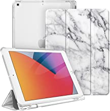 Fintie Case with Pencil Holder for iPad 8th Gen (2020) / 7th Generation (2019) 10.2 Inch - Slim Shell Hard Case with Translucent Frosted Stand Back Cover, Supports Auto Wake/Sleep, Marble White