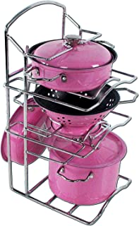 Children's Kitchen Accessory Cookware Pretty Pink Stainless Metal Toy, Great for Gifts - 3 Different Types of Pots & Pans