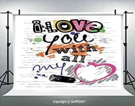Background I Love You with All My Heart Grunge Sketchy Notebook Style Childish Couples Decorative 3D Backdrops for Interior Decoration Photo Studio Props