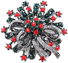 Soulbreezecollection Christmas Wreath Flower Ribbon Brooch Pin Pendant Necklace Compatible