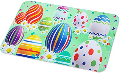 Happy Easter Doormat Spring Door Mat Eggs Easter Doormat Easter Flower Indoor Outdoor Welcome Doormat, 23.6 x 15.7 Inches