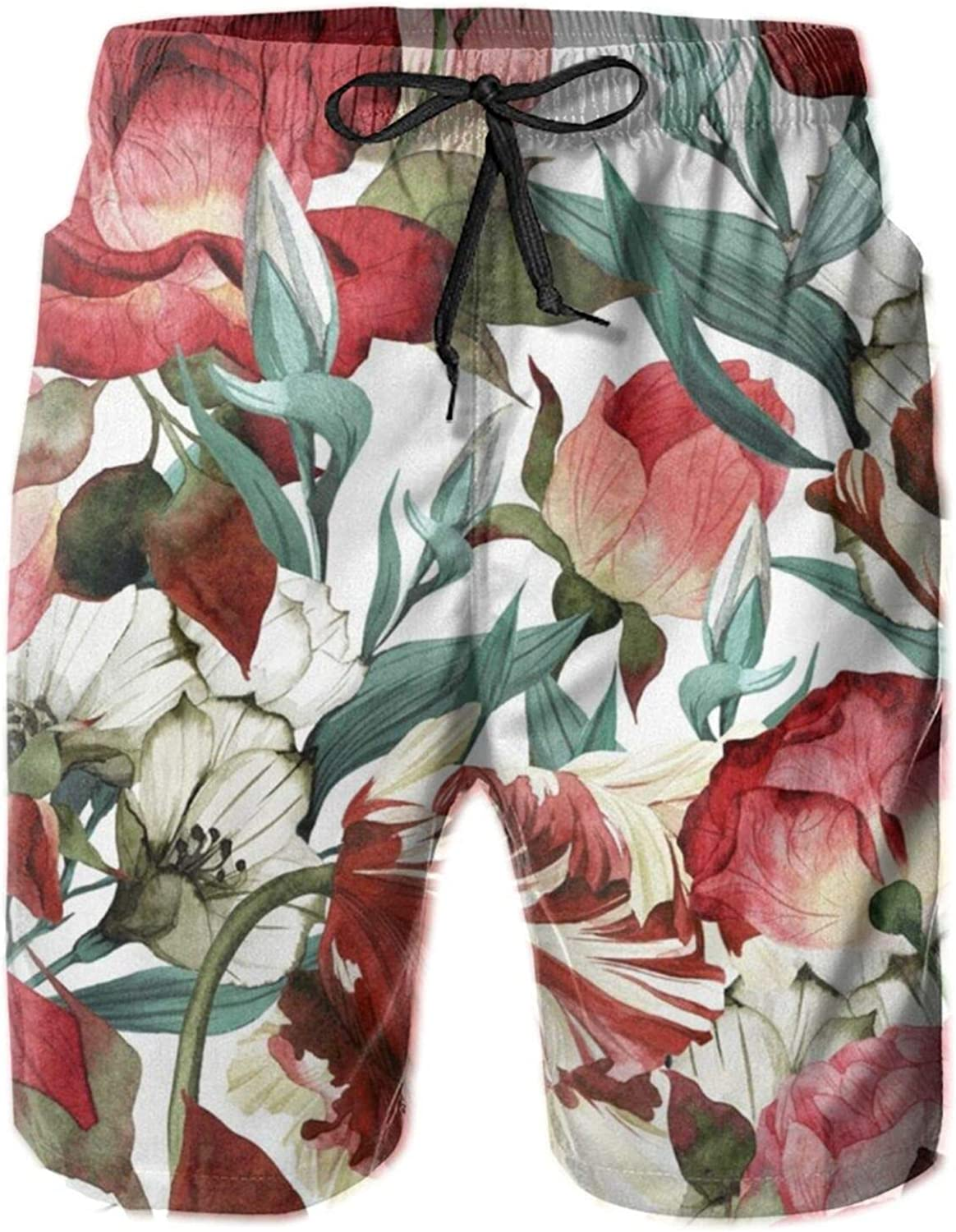Yt92Pl@00 Men's 100% Polyester Flower Casual Bathin Swim Super sale period limited Trunks Omaha Mall