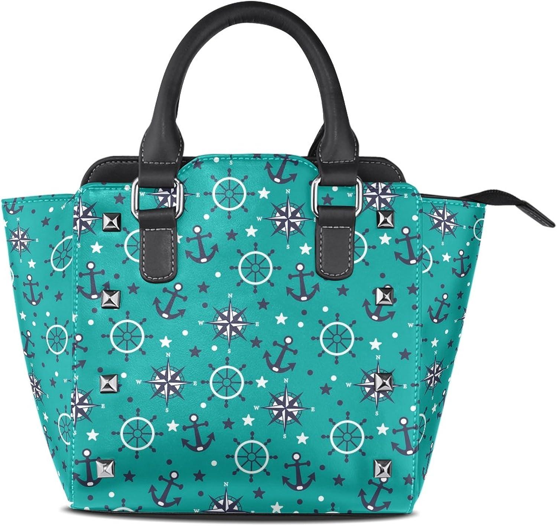 My Little Nest Women's Top Handle Satchel Handbag Anchor Sea Pattern Ladies PU Leather Shoulder Bag Crossbody Bag