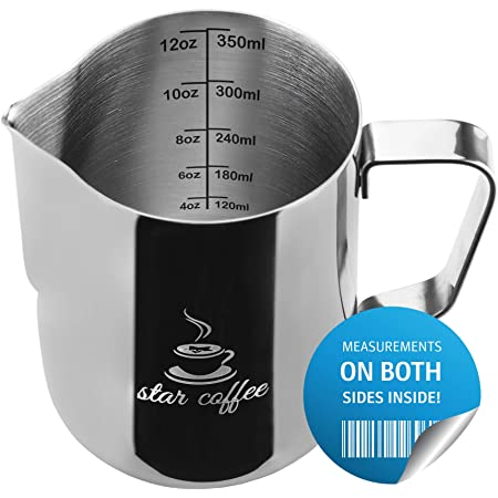 Milk Frothing Pitcher 12oz - Steaming Pitchers 12 20 30oz - Measurements on Both Sides Inside Plus eBook - Frother cup for Espresso Machines, Milk Frothers, Latte Art - Stainless Steel Coffee Jug