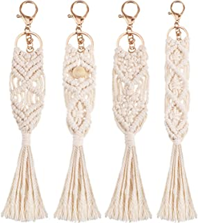 4 Pieces Mini Macrame Keychains Boho Macrame Bag Charms with Tassels Handcrafted Accessory for Car Key Purse Phone Supplies, Beige