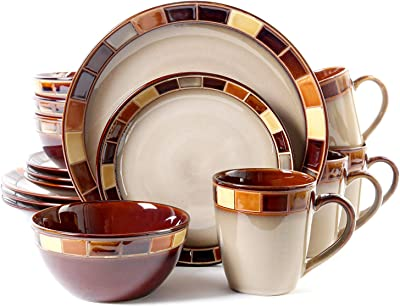 Jueven 16-Piece Dinnerware Set Magnificent Dinnerware with Colorful Tiled Borders, Stoneware Material