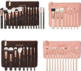 Pro Zoeva Cosmetic Powder Eyeshadow Complete Face Makeup Brush Zipper Bag Set (15PCS Brown Set)