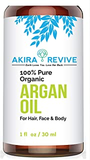 Akira Revive ORGANIC Argan Oil For Hair, Skin, Face, Nails, Beard & Cuticles - Best 100% Pure Moroccan Anti Aging, Anti Wrinkle Beauty Secret, Certified Cold Pressed Moisturizer 1oz
