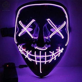 imporTudo Mascara con LUZ LED LA Purga Halloween The Purge Colores Calidad (Morado)