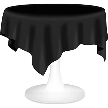 12 Pack Strong Reusable Heavy Weight Black 84 Inch Round Plastic Now Available In Bulk! Tablecloths Table Covers
