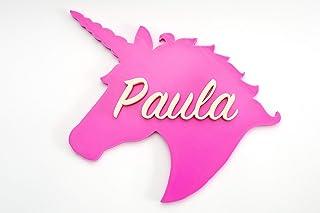Placa decorativa Unicornio 23 cm personalizada con nombre. Hecha en España