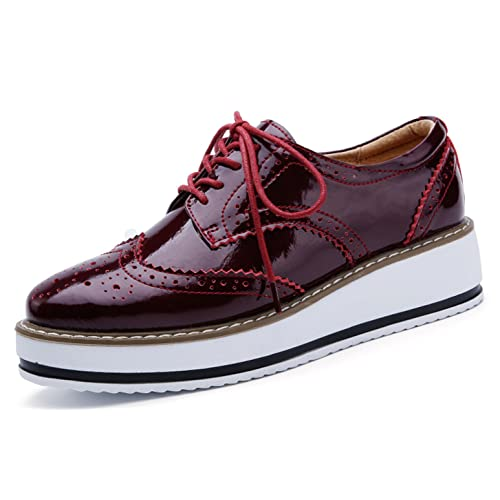 73e86f699a68 YZHYXS Platform Shoes for Women Brogue Genuine Cow Leather Wedge Oxford  Casual Shoes