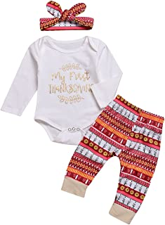 Baby Girls Boys Clothes My 1st Thanksgiving Outfit Infant Long Sleeve Romper Tops+Pants+Headband Clothes Set