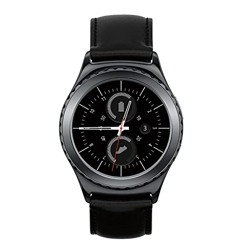 Samsung Gear S2 SM-R735T Stainless Steel Leather Black Smartwatch for T-Mobile (