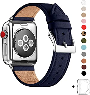 WFEAGL Compatible with iWatch Band 38mm 40mm 42mm 44mm, Top Grain Leather Band Replacement Strap for iWatch SE/Series 6/5/4/3/2/1, Edition (Dark Blue Band+Silver Square Buckle, 38mm 40mm)