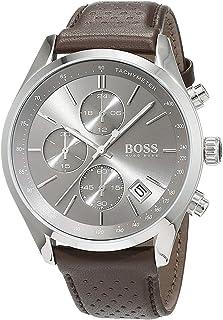 ساعة جراند بركس بقرص رمادي وحزام جلدي للرجال من هوغو بوس، موديل 1513476