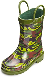 Puddle Play Toddler and Kids Waterproof Rubber Rain Boots Easy-On Handles - Boys and Girls Fun Colors and Designs