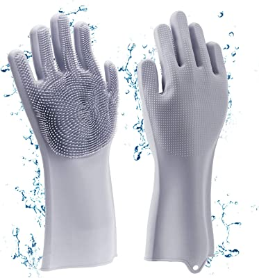 HomeFast Magic Silicone Dishwashing Gloves Cleaning Scrubbing-Dish Wash Silicone Gloves Great for Washing Dish,Kitchen,Car,Bathroom and More. (Grey)