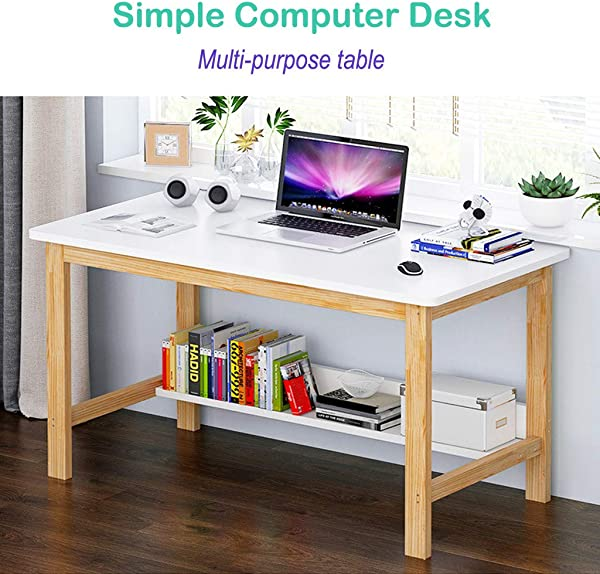 Solid Wood Table Home Office Desk Fulijie Computer Desk Writing Study Table Double Layered Laptop Coffee Table With Large Desktop 47 2 23 6 29 1Inch Ship From US White Yellow