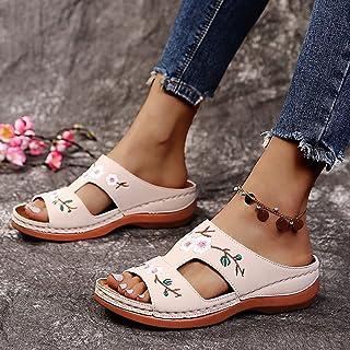 Pantoufles Femmes mules Chaussures à talons Compensés, Chaussures d'été Décontractées à bride arrière, Pantoufles à plate-...