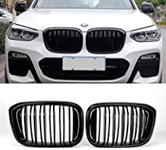 SNA Front Kidney Grille for 2018-2020 BMW X3 G01 2019-2020 X4 G02 (Double Slats ABS Gloss Black X3 Grill, X4 Grill)