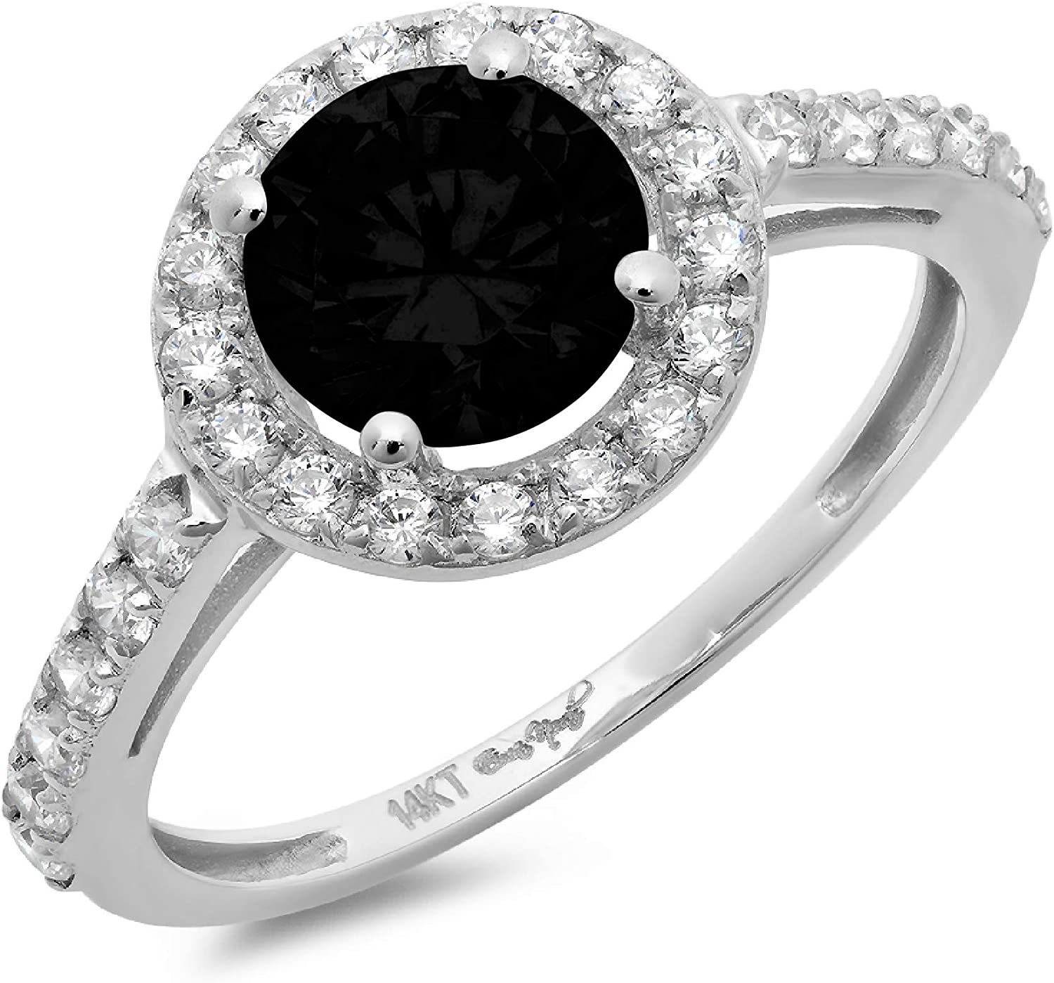 2.34ct Brilliant Round Cut Solitaire Halo Flawless Natural Black Onyx Gemstone Ideal VVS1 Engagement Promise Statement Anniversary Bridal Wedding Accent Designer Ring Solid 14k White Gold