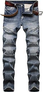 Men's Slim Fit Straight Leg Denim Hip Hop Biker Stretchy Jeans