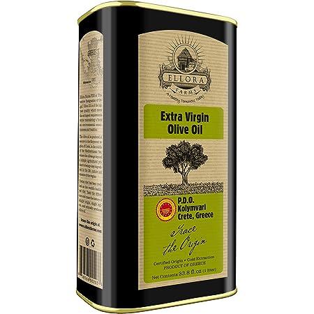 Ellora Farms, Global Gold Award Winner, Certified PDO Extra Virgin Olive Oil, Single Estate, Single Origin, Single Variety, Cold Press & Traceable Olive Oil, Born in Crete, Greece, Kosher, 1 Lt Tin (33.8 oz.)