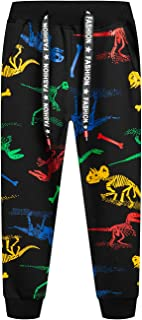LAUSONS Pantalon Deporte Largo Niño Pantalon Joggers con Impresión de Dinosaurio