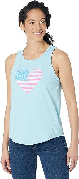 Watercolor Flag Heart High-Low Crusher Tank Top